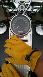 Wholesale Yellow Work Gloves - Wholesale- New arrival Motorcycle retro Leather Gloves scooter glove Cafe Bobber Glove Work glove Gold yellow