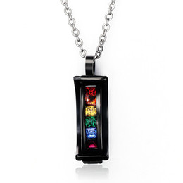 Wholesale Colorful Arc - Fashion Jewelry Colorful Crystal Zircon Black Arc Stainless Steel Rainbow Slide Pendant Gay Pride Chain Necklace