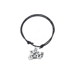 Wholesale Golf Accessories Set - Fashion Accessories Twist Bracelet Joint Antique Silver Plated Letter I Love Golf Charm Adjustable Wax Cord Bracelet For Gift Jewelry