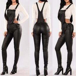 Wholesale High Waist Overalls - Wholesale- 2017 Fashion PU Leather Rompers Womens Jumpsuit Skinny Slim Long Playsuit Ladies Solid High Waist Backless Pockets Overalls