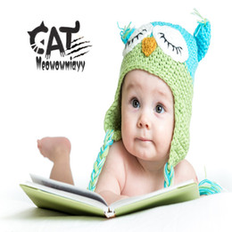 Wholesale New Crochet Baby Owl Hat - Knitted kids hats 2017 new winter Baby hand owls hat warm casual Children's Caps red cartoon crochet hats