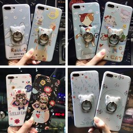 Wholesale Best New Cell Phones - For iphone7 8plus cell phone cases with Stent iphone6s Cartoon TPU silicone phone case with a ring buckle best new trend style free shipping