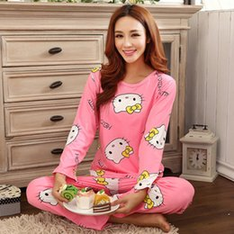Wholesale Green Women Cat Suits - Wholesale- new womens pajamas sweet cotton Animal Cartoon little cat Winter Pajamas Woman Indoor Clothing Home Suit Sleepwear Pyjamas