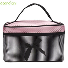 Wholesale Makeup Organiser Box - Wholesale- Naivety 2016 New Bowknot Stripe Makeup Cosmetic Bag Square Storage Box Make Up Organiser Container 11S60921 drop shipping