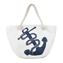 Wholesale Ladies Straw Handbags - White Anchor Beach Bag Summer Cool Wide Mouth Linen Zipper Woman Handbag Ladies Sea Travel Bag Casual Totes Shoulder Bags Blue QQ2147