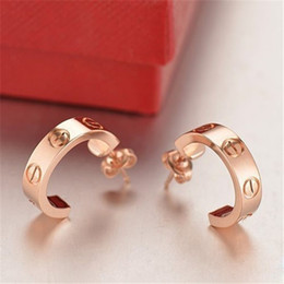 Wholesale Love Studs Earrings - Fine fashion screw cater love earrings for women men couple jewelry Titanium brand wholesale christmas nail earrings boutique