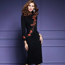 Wholesale Dress Winding - Celebrity Club Dresses New Spring Wind Plum Flower Embroidery Dress Female Long Cultivate One's Morality Show Thin Buttock Dress Skirt