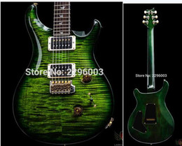 Wholesale Electric Guitar Flame Maple - Wholesale- 30th Anniversary Custom 24 Top Flame - Emerald Green electric guitar free shipping