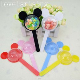 Wholesale Box For Wedding Favors Baby - 6 Colors Pick--15pcs Lovely Mickey Mouse Plastic Candy Box For Baby Shower Favors Wedding Favors Boxes Kids Birthday Party Gift Boxes Decor