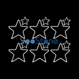 Wholesale Dazzling White Wholesale - Dazzling Cowboys Star Rhinestone Iron On Transfers Hot Fix Motif Applique Strass Designs