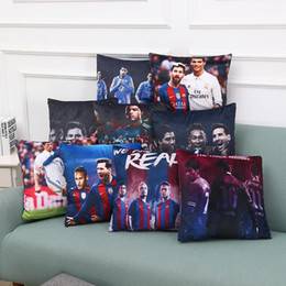 Wholesale Car Color Personality - Two-color Real Madrid Messi Football Pillow Case Personality Square Cushion Sofa Car Livingroom Bedroom Pillow Covers 45*45cm WX-P20