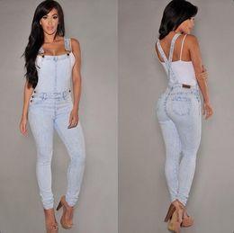 Salopette de neige en Ligne-Livraison gratuite gros trou femme en salopette en jean condolé siamois paire de jeans lavés neige Combinaisons