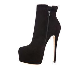 Wholesale Boots 15cm - Zandina Womens Ladies Handmade Fashion Zipper Platform Round Toe 15cm Sky Heel Party Ankle Boots Shoes Black Suede