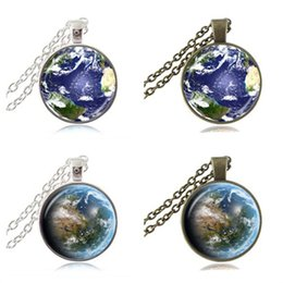Wholesale Planets Photos - Mother Earth Photo Necklace Globe Pendant Planet Jewelry Space Necklace Glass Cabochon Time Gemstone Pendant Jewellery