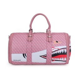 Wholesale Animal Print Duffel Bag - Wholesale Shark's Mouth Short-distance Hand-Held Travel Bag PU Leather Waterproof Printing Handbag Female Large Capacity Travel Bag