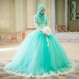 Wholesale Turquoise Ball Gowns Sleeves - muslim arabic pakistani dubai ball gown wedding dresses high neck long sleeve turquoise tulle lace appliques long plus size bridal gowns