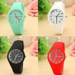 Wholesale Geneva Watches Silicone Band - 2017 Newest Fashion Geneva Watches Colorful Jelly Women Dress Watch Men Casual Silicone Band Quartz Wristwatch Relogio Feminino