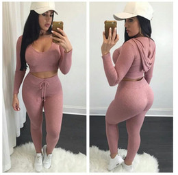 Wholesale Elastic Puff Long Sleeve - Heyouthoney high quality women sexy casual elastic knitting long-sleeve cropped tops hoodies and pants two pieces sets suits