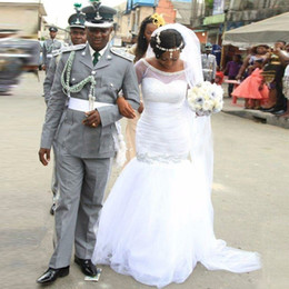 Wholesale Transparent Shoulder Straps - White Mermaid Wedding Dresses Transparent Half Sleeve Off Shouder Beadings Tulle Floor Length Bridal Gowns Custom Size Fashion
