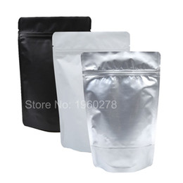 "Wholesale Gusset Bags - 100pcs Heavy-Duty 15x23cm (5.9x9"") Black  Silver  White Metallic Stand Up Storage Bags Aluminum Foil Zip Lock Gusset Pouch Bag"