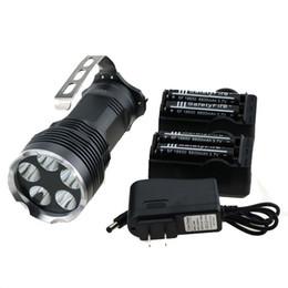 Wholesale Search Flashlight - 6000 Lumens 5T6 Portable Searching Led Flashlight 5x Cree XM-L T6 Led Torch Lantern Lamp + 4x 18650 Battery + AC   DC Chargers
