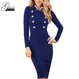 Wholesale long sleeve winter work dresses - Women Autumn Winter Long Sleeve Dress Navy Blue Stand Collar Double-Breasted Button Business Work Bodycon Pencil Dress