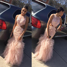 Wholesale Modern Design Pictures - 2017 New Design Sheer Neck Mermaid Prom Dresses Blush Pink Lace Applique Backless Tiered Tulle Formal Evening Party Gowns Custom Made