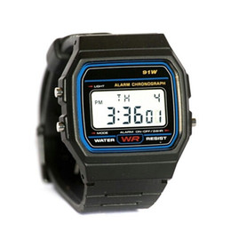 Wholesale Thin Watches Alarms - fashion f-91w watches discount Candy Child f 91 watch thin LED watch alarm clocks 91w