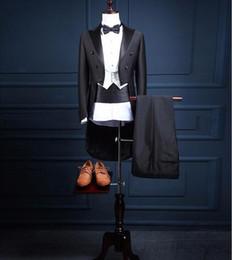 Wholesale Men S Long Suit Tailcoat - Custom made Men Suit (jacket+pants+vest+bow tie+waistband) For Wedding Groom Slim Fit Mens Black Party Tuxedo Tailcoat