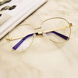 Wholesale Big Black Fashion Eyeglass Frames - Elegant Unisex Glasses Women Men Sunglasses With Plain Lens Big Gold Frame Eyeglasses Fashion Eyewear HOT SELLING Brand Design Glasses