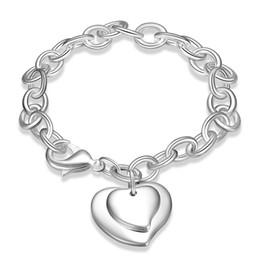 Wholesale Wholesale Solid Gold Chains - Wholesale- 925 Sterling Silver Jewelry Bracelet Heart Pendant Solid Silver Bracelets for Men Women Heart Charm Bracelet