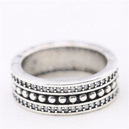 Wholesale Round Box For Ring - Round Charm Ring Unique Manual Embed Little CZ Authentic 925 Sterling Silver Fashion Women Jewelry Retro European Style For Pandora With Box