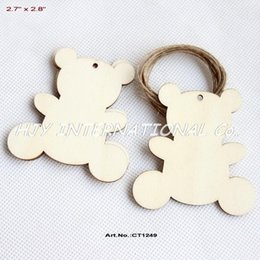 "Wholesale Rustic Chains - Wholesale-(50pcs lot) 70MM Blank Rustic Wood Bear Key Chain Christmas Tags With Strings 2.8"" -CT1249"