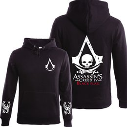 Canada Gros-2016 Automne Hiver Assassins Creed Hoodie Hommes Noir Cosplay Sweat Costume Polaire Doublé Assassins Creed Hommes Hoodies Vestes cheap assassins creed cosplay black Offre
