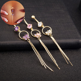 Wholesale Belly Piercing Purple - 2017 Butterfly Clear Purple Pink Cubic Zirconia Gold-color Belly Button Tassels Navel Piercing Body Jewelry Navel Belly