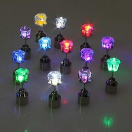 Wholesale led lighted earrings - Luminous Ear Studs Colorful LED Light Up Diamond Earrings Glowing In The Dark Ears Ring For Christmas Decoration 2 8md B
