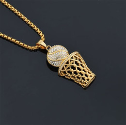 Wholesale Rhinestone Basketball Jewelry - Hip Hop Necklace Gold Plated Basketball And Hoop Titanium Steel Pendant Necklace Round Box Chain Boys Jewelry