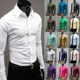 Wholesale Slim Fit Blouse - Wholesale- Men 's Fashion Candy Color Long - sleeved Slim Business Casual Shirt Men Luxury Stylish Casual Dress Slim Fit Casual Blouse