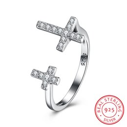Wholesale Adjustable Cross Rings - Adjustable Ring 925 Sterling Silver Holy Cross Jewelry Crystal Cubic Zirconia Beautiful Wedding Christmas Gift Free Shipping SVR138