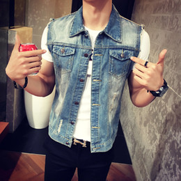 Wholesale Men Vest Purple - Wholesale- Mens Denim Vest 2016 New Brand Jeans Vests Men Slim Fit Sleeveless Jacket M-3XL size Patchwork Waistcoat Gliet Men 2 color