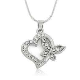 Wholesale Shape Heart Pattern - Simple Design Silver Color Heart Shape Butterfly Pattern Clear Crystal Embedded Pendant Necklace With Snack Chain for Women Teen and Girls