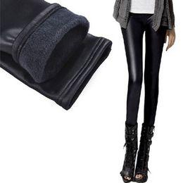 Wholesale Warm Leggins - Wholesale- Velvet Thicken Fur Warm Fitness Women Faux Leather Winter Fleece Legging Pants Women Female Leggins