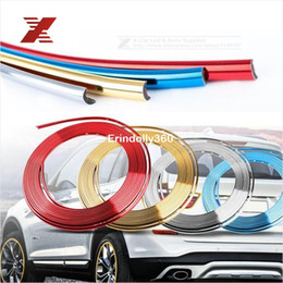 Wholesale Types Wheel Motorcycle - 8M Electroplate Color Car Decorative Strip Car Motorcycle Wheel Hub Tire Sticker Body Rim Protection Care Covers Car Styling