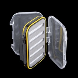 Wholesale Clear Plastic Fishing Tackle Boxes - Wholesale- 4.3 x 2.75 x1.2 Plastic Waterproof fly fishing Double Side Clear Slit Foam fly Fishing Box FLY BOX Tackle Case Box free shipping
