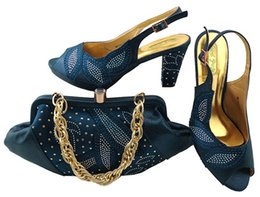 Wholesale Shoes Elegant For Weddings - Elegant D.blue shoes match bags with rhinestones series african lady shoes and handbag set for dress MM1043,heel 8CM