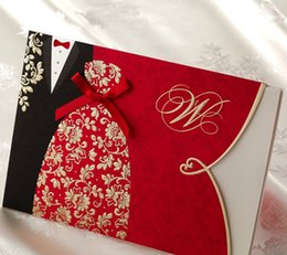 Wholesale Classic Wedding Invitation Cards New - Wholesale-(10 pieces lot) New Classic Bride And Groom Wedding Invitation Cards Red And Black Chinese Style Wedding Invitation Cards CW1051