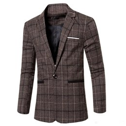 Wholesale Mens New Jacket Style - New Autumn Winter Men's Blazers European Style Fashion Mens wedding Blazer Suit Dress Plaid Suits Business Jacket Masculino