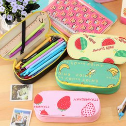 Wholesale Strawberry Boxes Wholesale - Wholesale- Cute Summer Fruit Watermelon Strawberry Pineapple Banana PU Pencil Case Kawaii Large Big Capacity Pencil Bag Box School Suppli