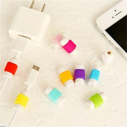 Wholesale Earphone Cable Line - Multicolor silicone cable saver data sync charger charging line earphone cord cables case protector saviors savers for iphone 7 6 samsung s7