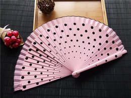 Wholesale Wholesale Spanish Fabric - 60pcs lot Spanish Fabric Wood Folding Hand Held Dance Fans Flower Party Gift Wedding Prom Dancing Summer Fan Accessories ZA3535